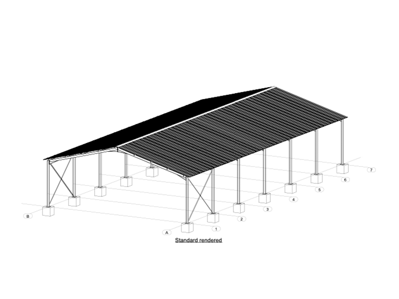 Isometric view of 15m Steel Structure