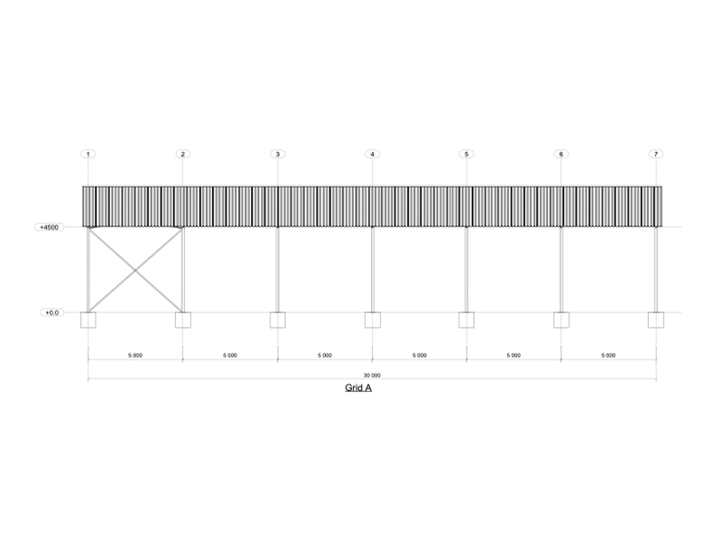 Side view of 15m Steel Structure