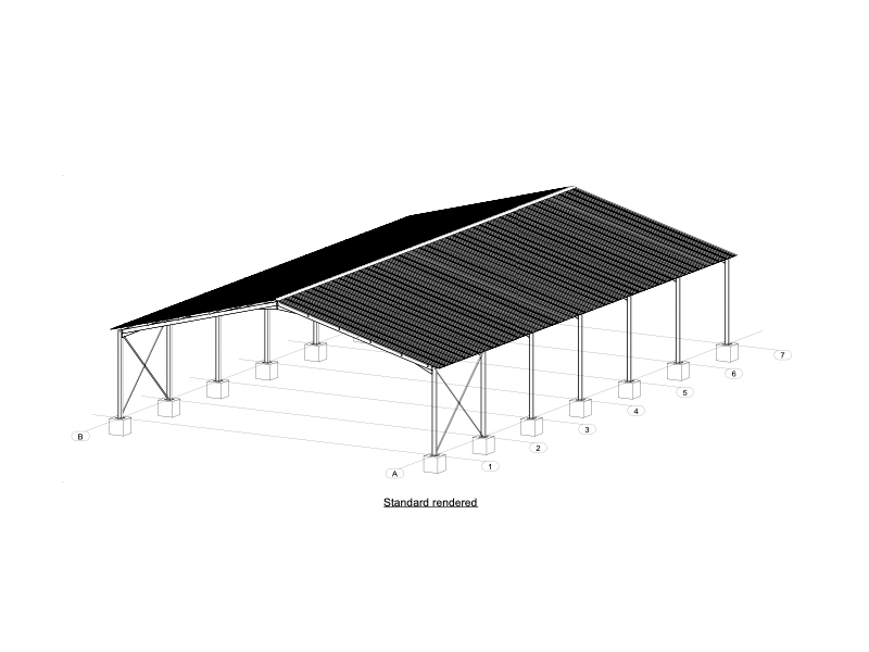 Isometric view of 18m Steel Structure