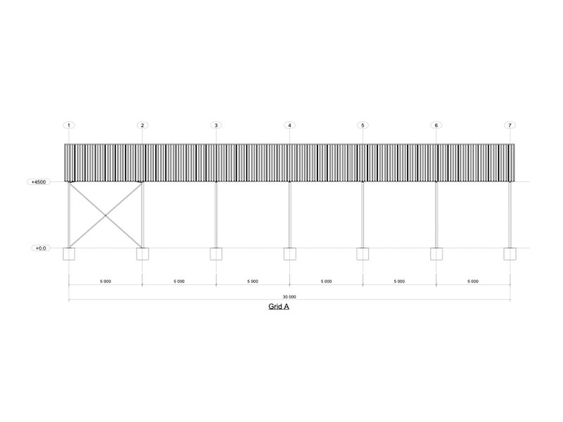 Side view of 18m Steel Structure